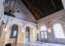 Main hall with vintage elements. Shot from the inside.