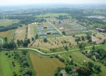 Bird's-eye view of all sewage treatment plants facilities and green areas