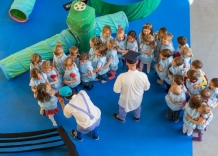 Top view of children dressed as water droplets and of Grandfather Tadek and Granddaughter Olek.