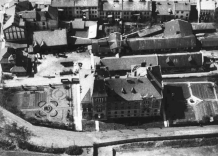 Black and white bird's eye view of the Waterworks Station.